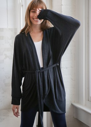 Yummie Slub Knit Cocoon Wrap Cardigan with Belt