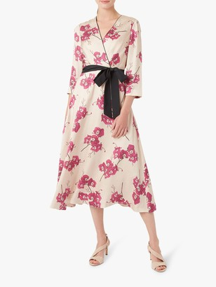 Hobbs Nina Kimono Dress, Quartz/Cerise