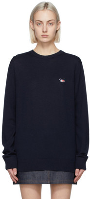 MAISON KITSUNÉ Navy Wool Tricolor Fox Patch Sweater