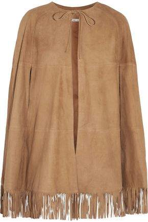 Alice + Olivia Lyn Fringed Suede Cape
