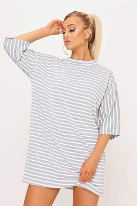 I SAW IT FIRST Grey Stripe T-Shirt Dress