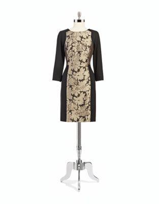DKNY DKNYC Three-quarter Sleeved Floral Paneled Dress