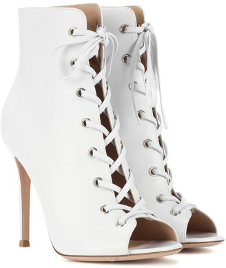 Gianvito Rossi Marie peep-toe leather ankle boots