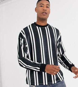 ASOS DESIGN Tall oversized long sleeve vertical stripe t-shirt in velour