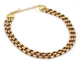 Gurhan Gale 24K Yellow Gold Ruby Beads Hammered Tube Link Triple Necklace