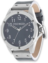 Steve Madden Men's Analog Leather Strap Watch