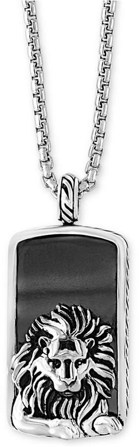 Effy Men's Hematite (36 x 20mm) Lion Dog Tag Pendant Necklace in Sterling Silver