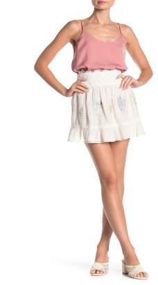 Love Sam Daisy Embroidered Crochet Lace Mini Skirt