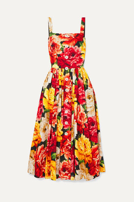 Dolce & Gabbana Floral-print Cotton-poplin Midi Dress - Orange