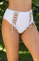 La Hearts Lace-Up High-Waisted Bikini Bottom