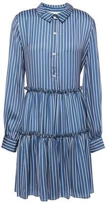 Maje Gathered Striped Satin Mini Shirt Dress