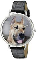 Whimsical Watches Great Dane Black Leather and Silvertone Photo Unisex Quartz Watch with White Dial Analogue Display and Multicolour Leather Strap T-0130080