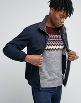 Pull&bear Navy Harrington Jacket With Faux Sherling Collar