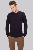 Moss Bros Navy Cable Crew Neck Jumper
