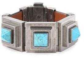 Valentino Burnished Silver-tone, Stone And Leather Bracelet