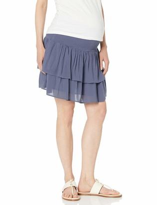 Ripe Maternity Women's Maternity Shirred Waist Frill Skirt