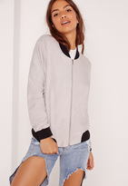 Missguided Contrast Rib Faux Suede Bomber Jacket Grey