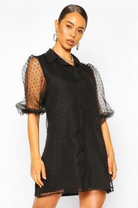 boohoo Organza Dobby Mesh Shirt Dress