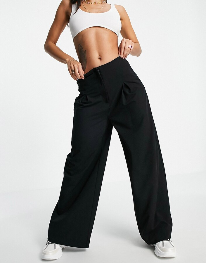 Thumbnail for your product : Pimkie wide leg tailored trousers in black