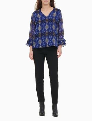 Calvin Klein Printed V-Neck 4-Ruffle 3/4 Sleeve Top