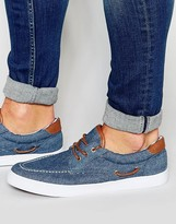 Asos Boat Shoes In Blue Chambray