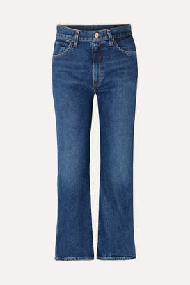 Gold Sign The Cropped A High-rise Straight-leg Jeans - Mid denim