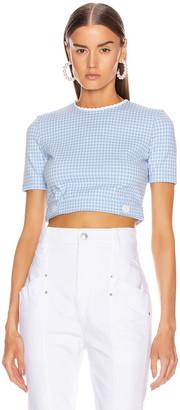 Miu Miu Short Sleeve Check Top in Celeste | FWRD