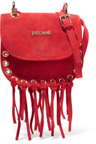 Just Cavalli Fringed eyelet-embellished suede shoulder bag