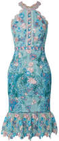 Marchesa Ruffled Embroidered Guipure Lace Dress - Light blue