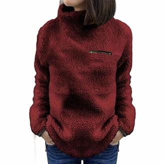 Toamen Women's Tops Toamen Womens Sweatshirt Hoodie Turtleneck Long Sleeve Warm-up Faux Fur Zipper Fleece Hooded Outerwear Pullover Sweatshirt Tops(Wine Red 14)