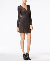 GUESS Metallic Striped Faux-Wrap Dress