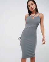 Asos Design DESIGN rib curved lace up bodycon midi dress
