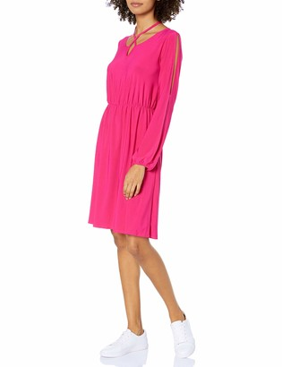 Star Vixen Women's Long Slit and Tacked Sleeve Elastic Waist Keyhole Tiefront Ity Peasant Dress