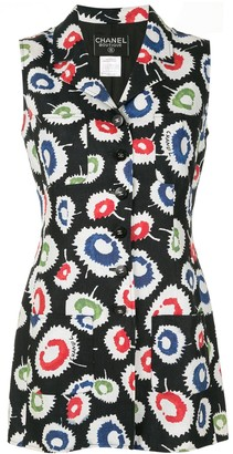 Chanel Pre Owned 1997 Elongated Sleeveless Floral Shirt
