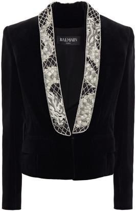 Balmain Embellished Cotton-velvet Blazer