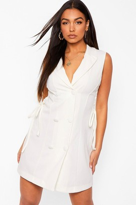 boohoo Lace Up Cut Out Side Tailored Blazer Dress
