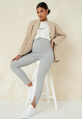 Missguided Gray Ribbed Split Front Maternity Leggings