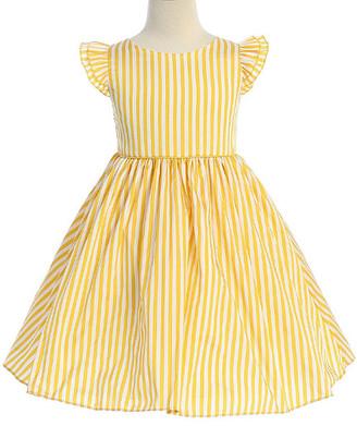 Ellie Kids Girls' Casual Dresses Yellow - Yellow & White Stripe Angel-Sleeve Dress - Toddler & Girls