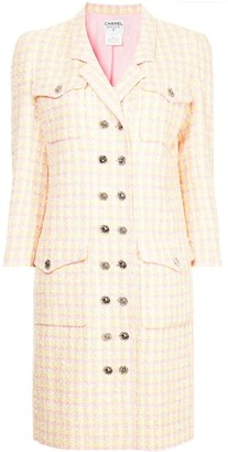 Chanel Pre Owned 1996 Checked Double Breasted Coat