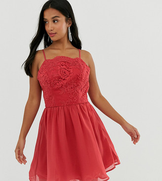 Chi Chi London Petite lace mini skater dress in raspberry