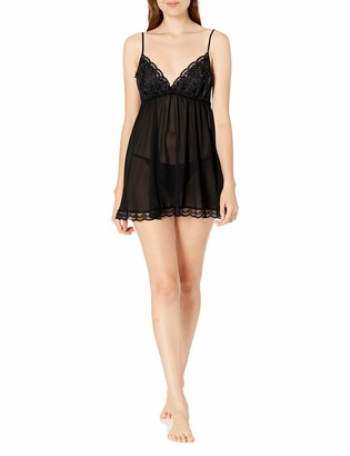 Cinema Etoile Women's Lily Soft Cup Chiffon Babydoll with Venice Galloon Lace Trim Cups