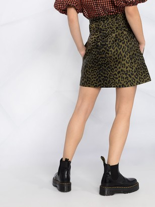 Ganni leopard-print A-line mini skirt