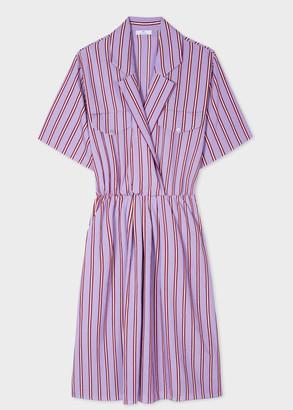 Paul Smith Women's Lilac Wide Stripe Silk-Blend Midi Dress