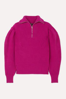 Isabel Marant Kuma Pointelle-trimmed Ribbed Wool Sweater - Magenta