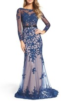 Mac Duggal Women's Open Back Embroidered Tulle Gown