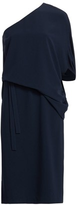 Halston Draped Asymmetric Sleeve Midi Dress