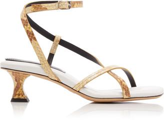 Proenza Schouler Snake-Effect Leather Sandals