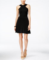 MICHAEL Michael Kors Cross-Neck Fit & Flare Dress