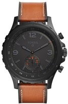 Men's Fossil Q Nate Leather Strap Hybrid Smart Watch, 50Mm