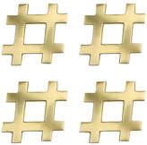 Kim Seybert Set of 4 Hashtag Coasters - Gold